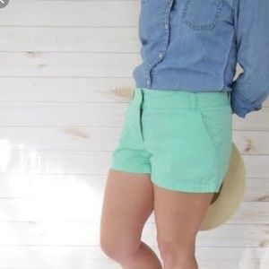 {J. Crew} Mint Green Broken-In Chino Shorts